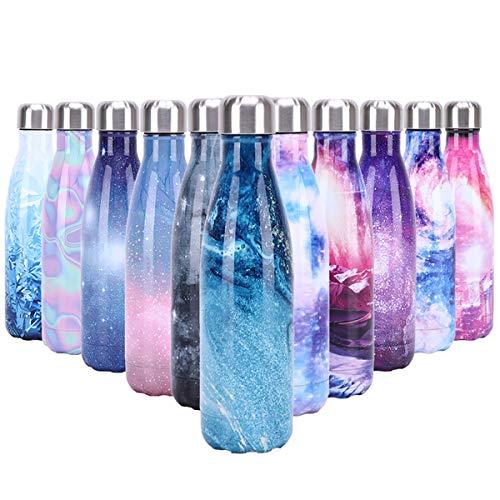 YCLIFE Botella Agua de Acero Inoxidable 500ml, Nuevo Diseño Sin BPA, Aislamiento de Vacío de Doble Pared Durante 24 Horas Frío y 12 Cálido, Deporte, Exterior, Gimnasio (Flamenco Azul)