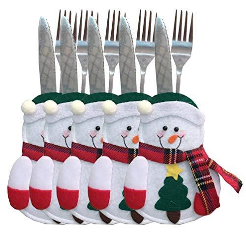 festival Christmas forchette coltelli delle stoviglie tasche Decor della tuta Silvereware porta posate Natale borse 5pcs Snowman Tree