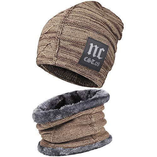 Bequemer Laden 2 Stücke Winter Beanie Mütze Schal Set Wolle Warme Strickmütze Dicke Fleecefutter Wintermütze & Schal für Herren und Damen, Khaki-2, Einheitsgröße