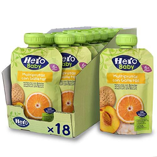 Hero Baby Bolsita de Multifrutas con Galletas - Para Bebés a Partir de los 6 Meses - Pack de 18 x 100 g