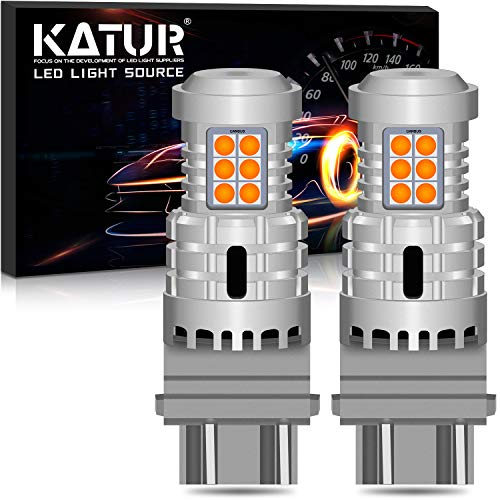 KATUR 3157 3057 T25 P27/7W LED Bulbs Super Bright 12pcs 3030 & 8pcs 3020 Chips Canbus Error Free Replace for Turn Signal Reverse Brake Tail Stop Parking RV Lights,Amber Yellow(Pack of 2)