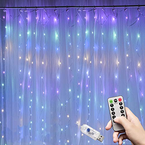 Ooklee Curtain Lights, 300 LED 3m x 3m 8 Modes USB Plug in Window Rainbow Fairy Light,Remote Copper Wire String Lighting for Room Home Party Wedding Gazebo Festival Christmas Decorations(Multi Colour)