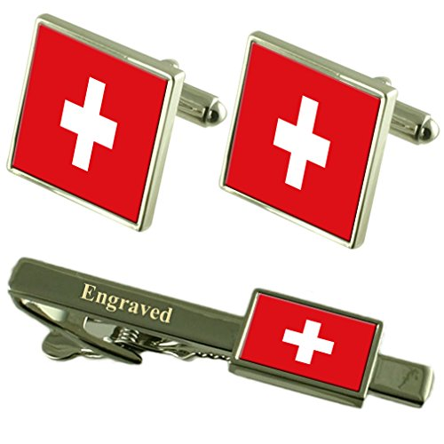 Select Gifts Flagge Schweiz Manschettenknöpfe gravierte Krawattenklammer passende Box Set