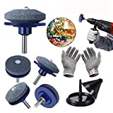 SmithCOCO 5 PCS Lawn Mower Blade Sharpener Drill Attachment Kit Includes Free Blade Balancer Gloves for Any Power Drill or Hand Drill Sharpening Stone Mower Tools