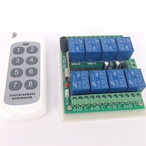 Lejin 8 canales 24V DC 200M de control remoto inalámbrico de interruptor...