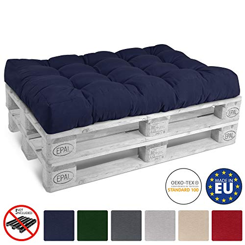 Beautissu Cuscino per bancali di Legno Eco Style -120x80x15 cm-Comoda Seduta per Divano Pallet di Legno- Blu Scuro