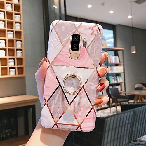 [Marmor]Ysimee Case kompatibel mit Samsung Galaxy S9 Plus Hülle 360 Grad Ring Stand Silikon Cover Bumper [Ultra Dünn] stoßfest TPU Schutzhülle Anti-Scratch Handyhülle Weich BackCover, Marmor #10