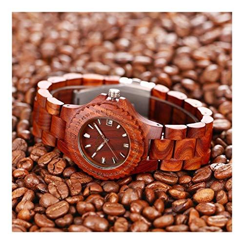 Reloj de sándalo rojo for pareja, industria retro de moda creativa - Relojes naturales puros y saludables, protección del medio ambiente, mejores regalos románticos y cálidos ( Color : A )