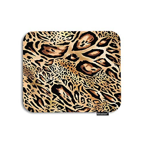 Moslion Leopard Mouse Pad Nature Wildlife Animal Tiger Skin Black Brown Fur Feather Gaming Mouse Pad Rubber Large Mousepad for Computer Desk Laptop Happy Father's Day 7.9x9.5 Inch