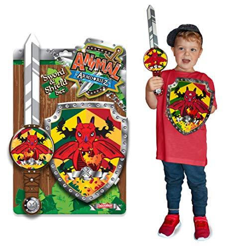 Animal Armouriez - Dragón de Deluxebase. Conjunto de Espada y Escudo de Juguete, de Espuma, de fantasía, para Disfraz niño