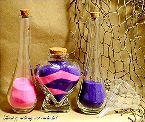 Heart Shaped Unity Sand Ceremony set with vinegar side vases and cork stoppers