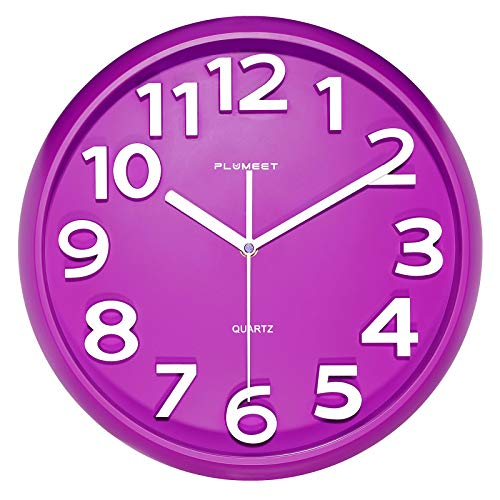 Plumeet 33 cm Große Wanduhr, Nicht tickende Stille Quarz Dekorative Uhren, Moderner Stil Gut für Wohnküche Wohnzimmer Schlafzimmer Büro, Große 3D-Nummer Anzeige, batteriebetrieben (Lila)