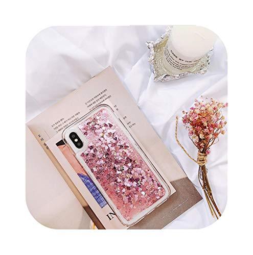 Funda de teléfono con purpurina para iPhone X XR XS 11 12 6S 6 7 8 5 5S SE 2020 Plus Mini Pro MAX Dynamic Liquid Love Heart Quicksand Cover - Rosa para iPhone 6