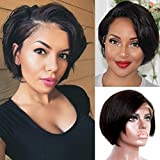 Lzlefho 13x4 Lace front Wigs Human Hair Pixie Cut Wigs Short Bob Wigs for Black Women 150% Density Brazilian Virgin Human Hair with Pre Plucked Haircuts Natural Hairline (8inch, Natural Black)