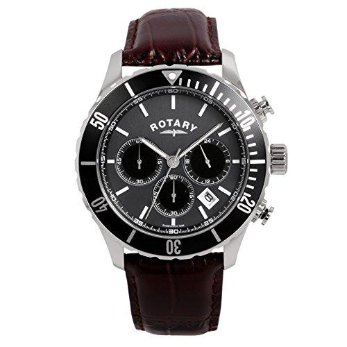 para Hombre Giratorio Relojes Reloj Infantil de Cuarzo con Esfera cronógrafo y Plateado Correa de Piel gs00314/04