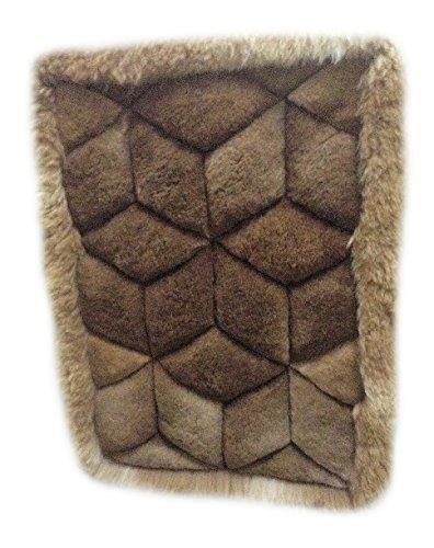 Alpacaandmore brauner original peruanischer Alpaka Fellteppich Wohnzimmer Teppich Rauten Design...