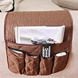 ZONK Anti-Slip Armchair Caddy with 5 Pockets for Recliner, Sofa Armrest Storage Couch Loveseat Organizer for TV Remote Control, Holder Phone, Books, Magazines,35x13 inches (Coffee)
