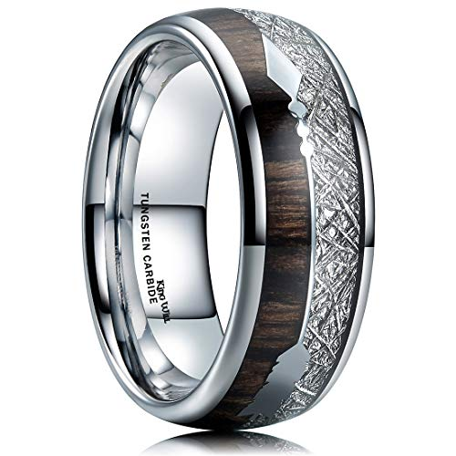 King Will Nature Men's 8mm Tungsten Carbide Ring with Wood & Meteorite Sticker Inlay Wedding Rings Dome Edge Comfort Fit 9