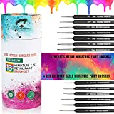 13 Piece Premium 2 in 1 Detail Paint Brushes Set 6 Red Kolinsky Sable & 7 Synthetic Nylon for Watercolors Acrylic Oils & Most Mediums Miniature Paint Brush by Wild Horses Trading Post LLC