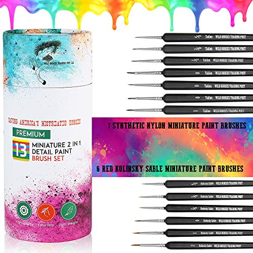 13 Piece Premium 2 in 1 Detail Paint Brushes Set 7 Nylon Acrylic Paints Enamel Oil Painting & Most Mediums 6 Red Kolinsky Sable Miniature Paint Brush Watercolor by Wild Horses Trading Post LLC