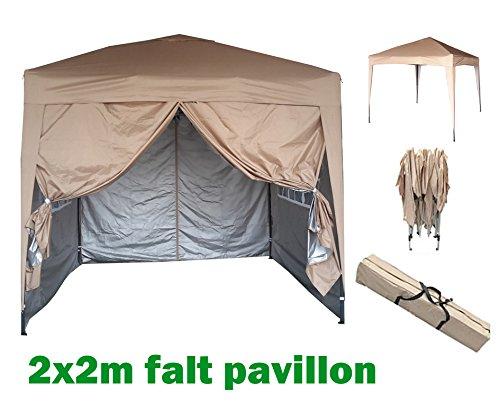 MCC® 2x2m Pavillon, Gartenpavillon, Falt-Pavillon, Festzelt, Partyzelt, Komplettset in 4 Farben, BEIGE