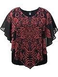 LEEBE Women's Plus Size Double-Layered Print Chiffon Poncho Blouse Top (1X-5X) (3X, Red Scarf-Print)