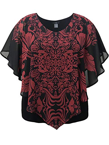 LEEBE Plus Size Dubbellaags Print Chiffon Poncho Top (Maat 16-34)