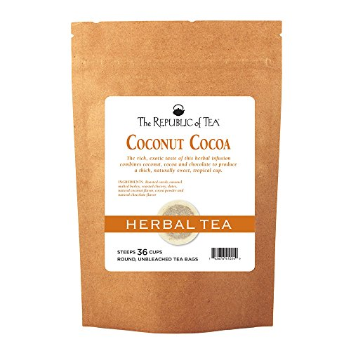 The Republic of Tea Coconut Cocoa Cuppa Chocolate Herb Tea 36 Tea Bags Gourmet Low Caffeine Dessert Tea