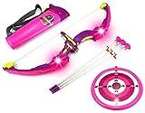 Light Up Night Princess Bow & Arrow Children's Kid's Toy Bow and Arrow Dart Playset w/Suction Dart Arrows, Holder, Target