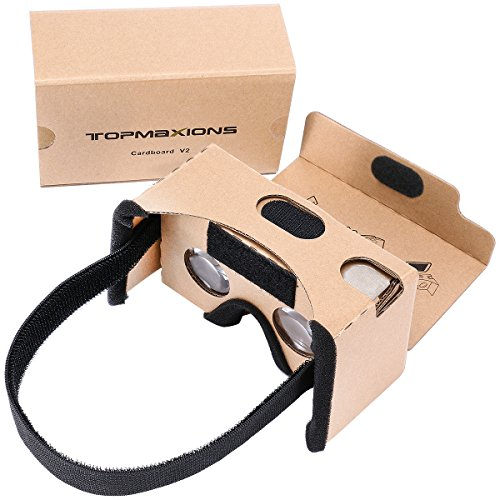 Google Cardboard,Topmaxions 3D VR Virtual Reality DIY VR Headset for 3D Movies and Games Compatible with Android & Apple Up to 6 Inch Easy Setup Machine