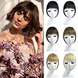 Yamel French Bangs Hair Clip in Bangs Hair Extensions Fringe Human Hair with Gradual Temple for Women Medium Brown