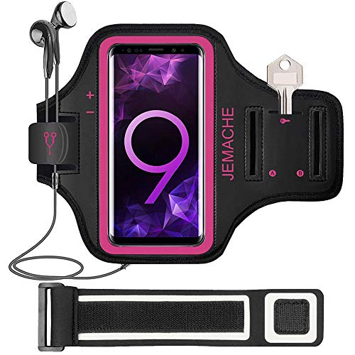 Galaxy S20/S10/S9/S8 Armband, JEMACHE Gym Running Exercises Workouts Phone Arm Band for Samsung Galaxy S20/S10/S9/S8/S7 Edge with Key Holder (Rosy)