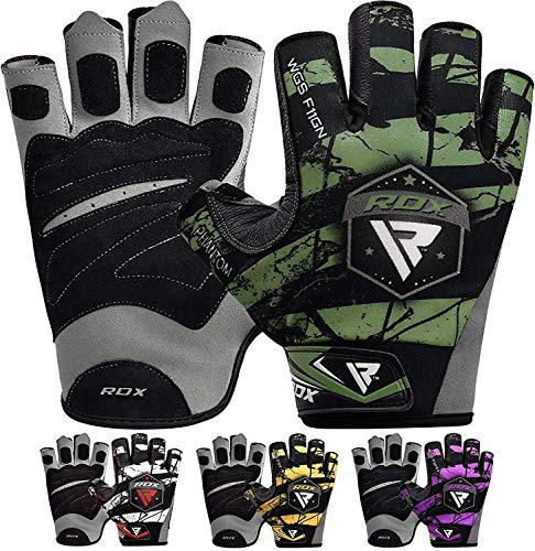 guanti palestra pelle RDX Guanti Palestra Sollevamento Pesi Uomo Fitness da Allenamento Bodybuilding Esercizio Pesistica Polso