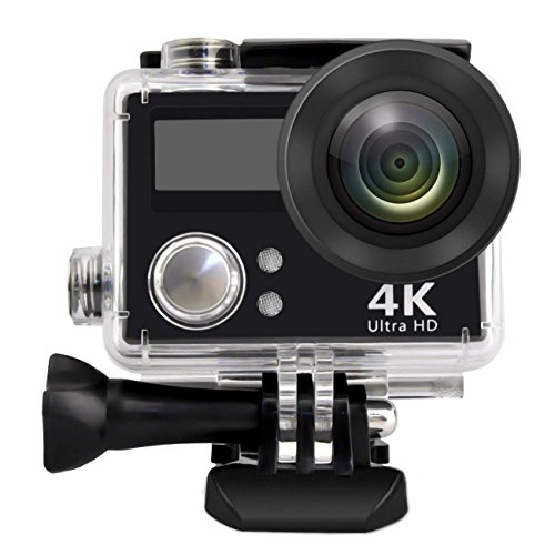 PowMax WW-60 HD 4K WIFI Sports Action Camera Waterproof DV Camcorder with 2 Inch LCD Screen/2.4G Remote Control/2 Batteries/Desktop Charger, Travelling Bag Include Various Practical Accessories