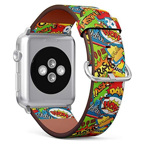 R-Rong kompatibel Watch Armband, Echtes Leder Uhrenarmband f¨¹r Apple Watch Series 4/3/2/1 Sport Edition 42/44mm - Pop Art Comic Pattern Speech Bubbles Illustration