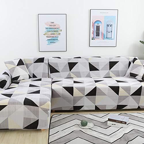 Fundas de sofá de Esquina para Sala de Estar Funda elástica elástica Sofá seccional Chaise Longue Funda de sofá en Forma de L A16 3 plazas