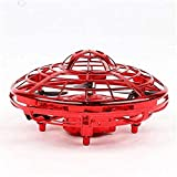 ZGHYBD Mini UFO Drone Quad Induction Levitation Flying Toy Hand-Control Kids,Flying Aircraft with 360° Rotation and Flashing LED Light Gifts for Children and Adults Red