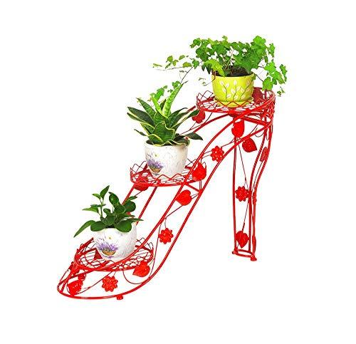 WYJW 3-traps ijzeren bloempot, bloemstandaard, creatieve plank voor binnen- en buitenbalkon (kleur: rood)