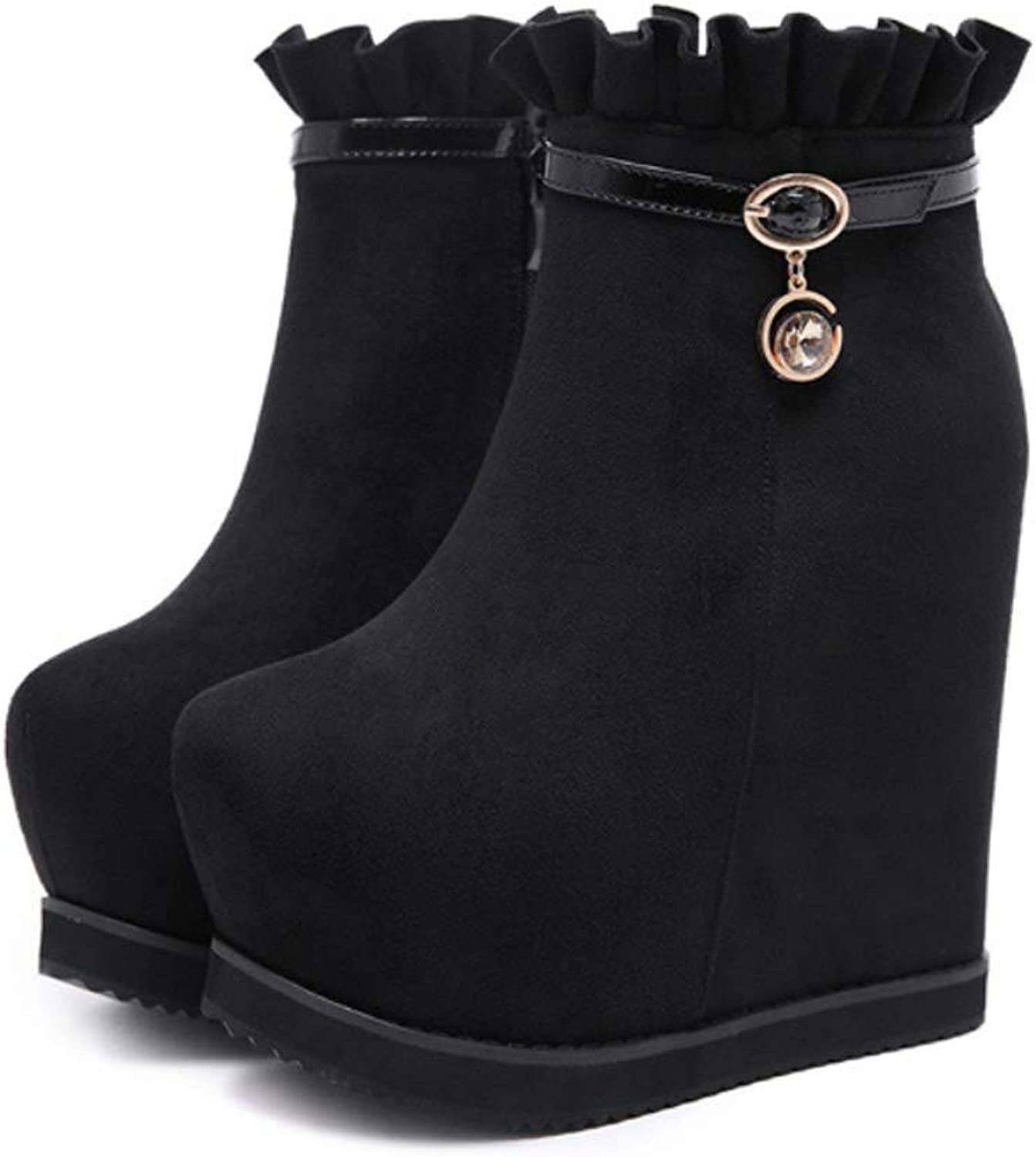 Womens Ankle Boots with Super High Heel shoes Wedge Heel Lace Buckle Booties for Fall Winter