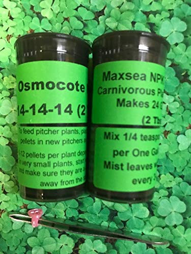 Live Carnivorous Combo Maxsea 16-16-16 Fertilizer & Osmocote Plus NPK 14-14-14 Food Pellets w/Tweezers