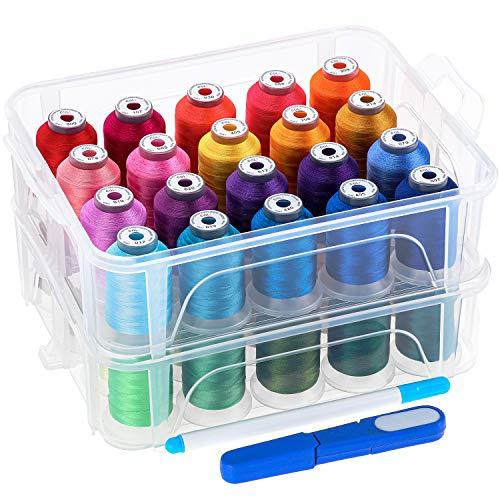New brothread 40 Brother Colores 500m Bordado Máquina hilo con caja de almacenamiento de plástico transparente para máquina de coser bordado