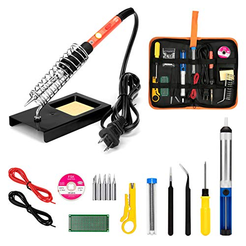 Soldering Iron Kit, 60W Upgraded Soldering Kits Adjustable Temperature Welding Soldering Iron Tool with On/Off Switch Use for Your Home DIY Electrical Repairs Jobs and Other Soldering Project, US Plug