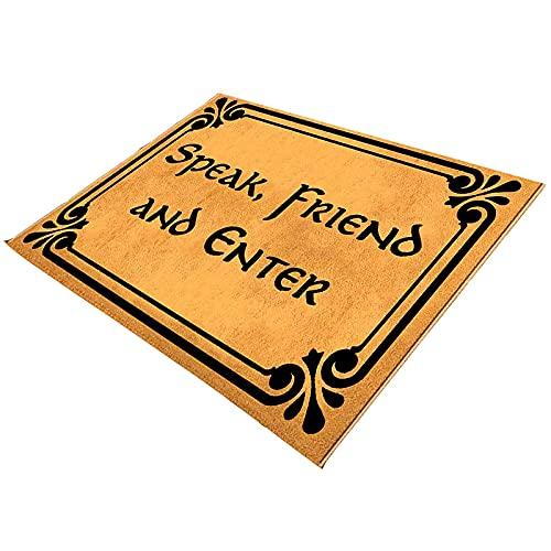 "litulituhallo Felpudo para entrada, diseño divertido con texto en inglés ""Speak Friend and Enter Door"""