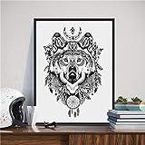 UIOLK Impresiones y Carteles de Arte de Pared de Lobo de Estilo Siberiano, atrapasueños Lobo Imagen Lienzo decoración del hogar