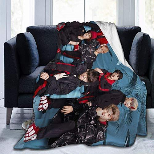 Kpop BTS Bangtan Boys Póster de impresión 3D de felpa ligera ultra suave de micro forro polar tamaño Queen manta para sofá cama, hogar, viajes, camping, dormitorio, 50 pulgadas X40