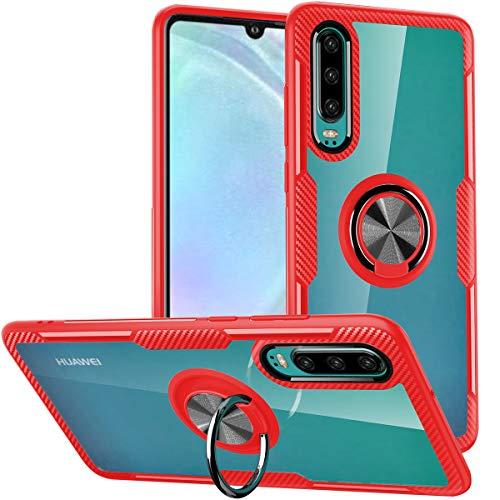 WATACHE Huawei P30 Hülle,Clear Crystal Carbon Design-Rüstung Schutzhülle mit 360 Grad drehbarem Fingerringgriff-Holde-Stand [Magnetic Car Mount Feature] für Huawei P30,Rot Rahmen