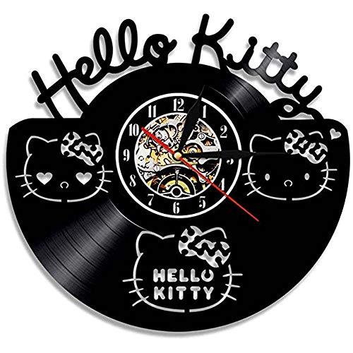 BBZZ Wanduhr Hallo Kitty Disney Vinyl Wanduhr, kundengerecht mit kreativen Kunstmotiven, Geschenkidee, Handarbeit, für Halloween, Kinder, 30 cm, schwarz,Schwarz