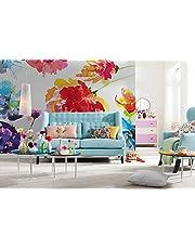 Komar - fotobehang PASSION - 368 x 254 cm - behang, wand, decoratie, wandbehang, wandafbeelding, wanddecoratie, kleurrijke bloemen, aquarellook - 8-917