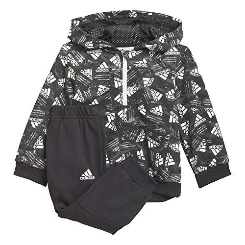 adidas I AOP Jog FT Chándal, Top:Black/White/White Bottom:Black, 2-3A para Bebés