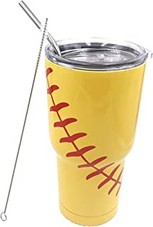 Gloryc 30oz Softball Tumbler Cup with Straw and cleaner, Stainless Steel Vacuum Insulated,Travel Mug For Coach Men Mom Friends (yellow)